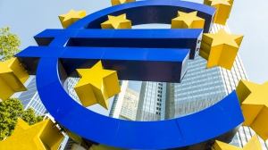 FRANKFURT GERMANY - MAY 16 2014: Euro Sign. European Central Bank (ECB) is the central bank for the euro and administers the monetary policy of the Eurozone in Frankfurt Germany.