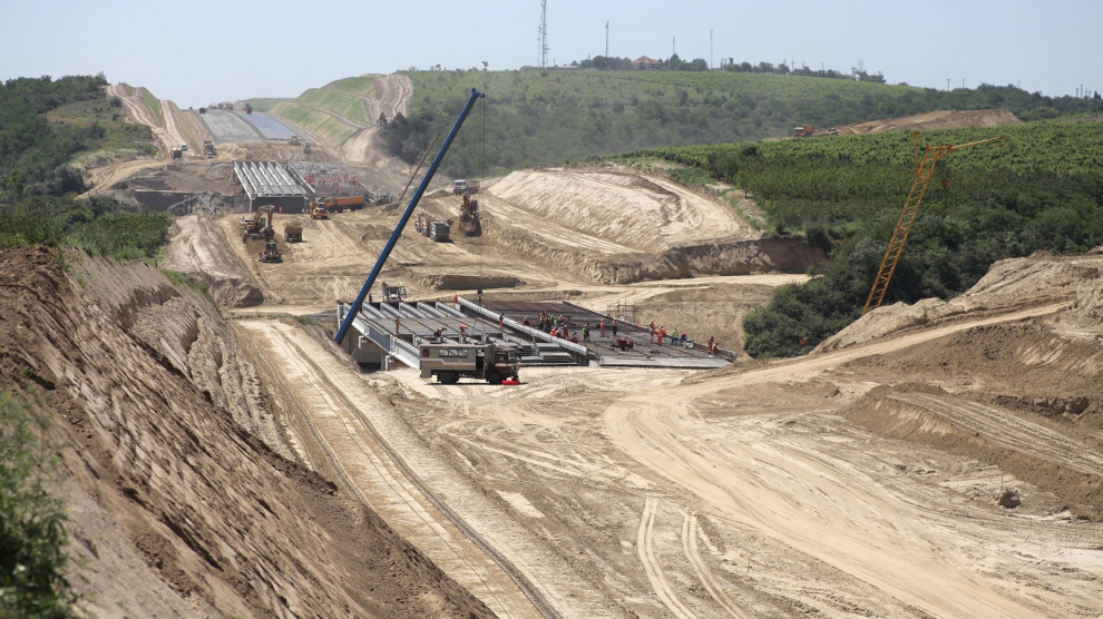 Cernavoda Romania - June 20 2012: Construction works at the A2 highway connecting Romania's capital Bucharest to Constanta.