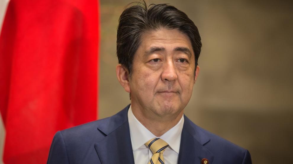TOKYO JAPAN - Apr 06 2016: Japanese Prime Minister Shinzo Abe during his meeting with President of Ukraine Petro Poroshenko in Tokyo