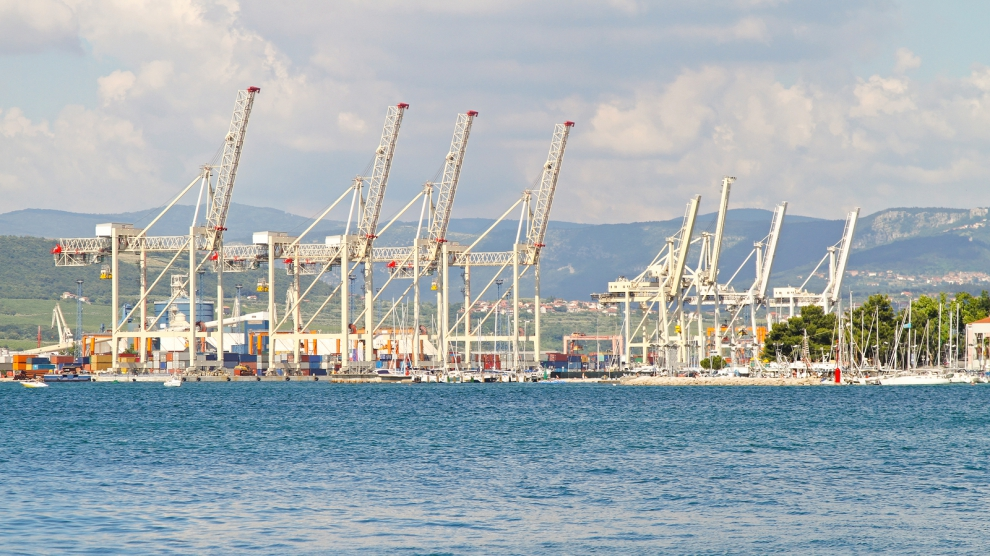 Big cranes in port of Koper in Slovenia