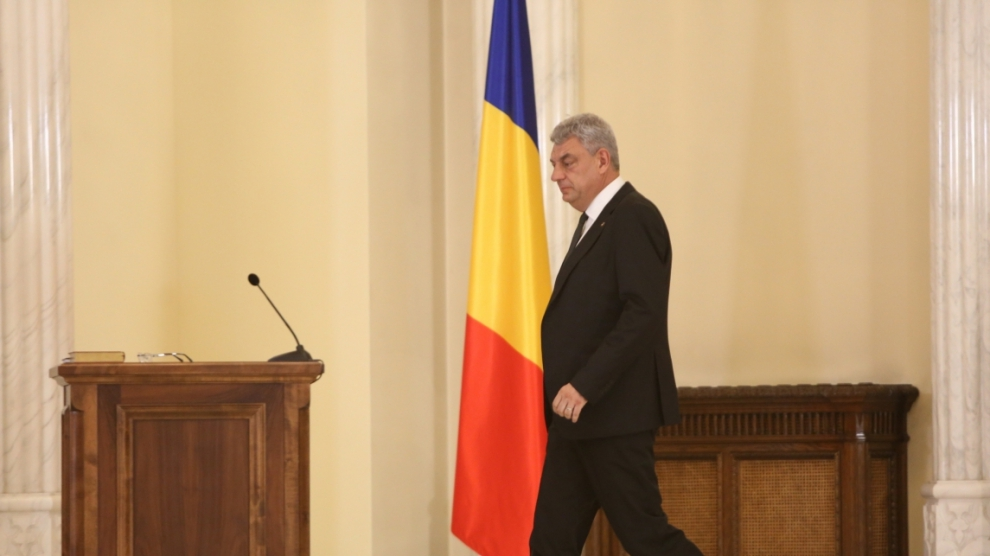 BUCHAREST ROMANIA - June 29 2017: Romanian Prime Minister Mihai Tudose during a swearing-in ceremony at Cotroceni palace in Bucharest capital of Romania June 29 2017.