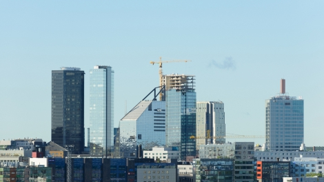 Tallin, Estonia - July 06,2017: Scenic view of the modern part of the city of Tallin, Estonia