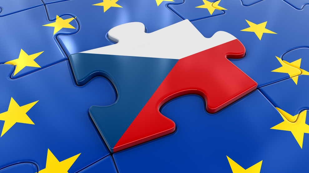 3D Illustration. Czech flag Jigsaw as part of EU