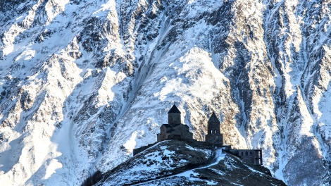 Holy Trinity Church (XIV century) at an altitude of 2170 m in Gergeti, Georgia