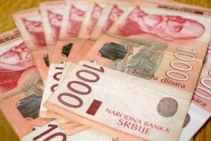 Serbian currency dinar. Banknotes of 1000 dinars