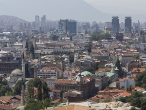 SARAJEVO, BOSNIA AND HERZEGOVINA - AUGUST 19 2017: Panoramiv view of Sarajevo from Yellow fortress with skycrapers in the background