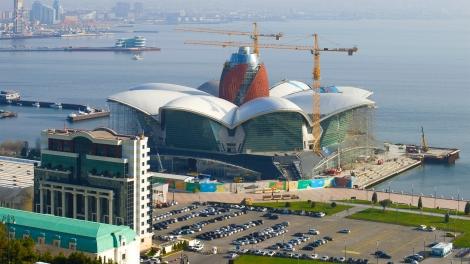 BAKU, AZERBAIJAN - DECEMBER 29, 2017: Construction of a new shopping center on the embankment of Baku Bay