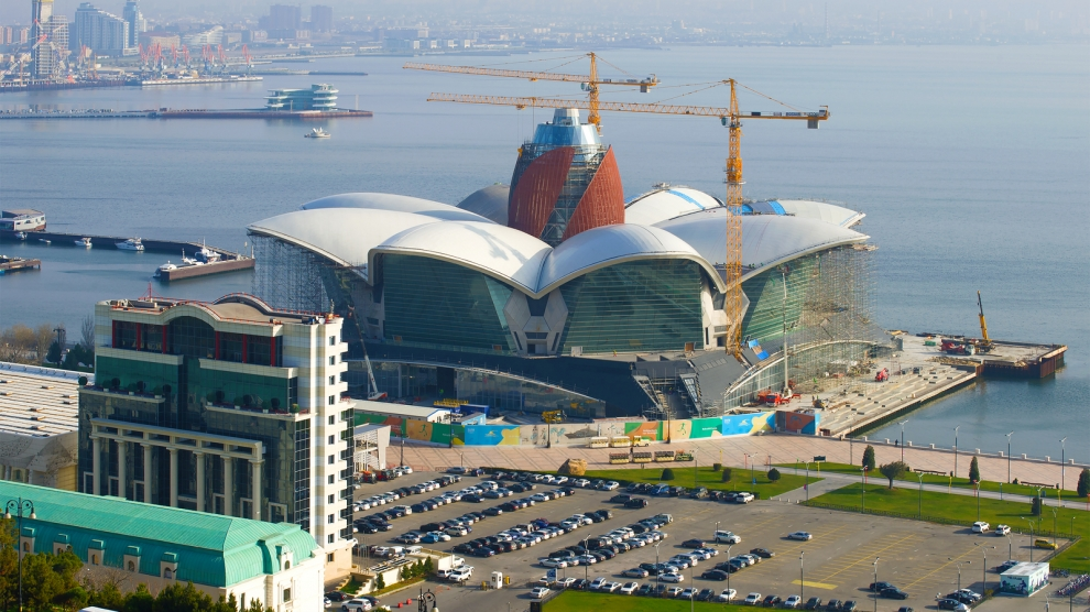 BAKU, AZERBAIJAN - DECEMBER 29, 2017: Construction of a new shopping center on the embankment of Baku Bay