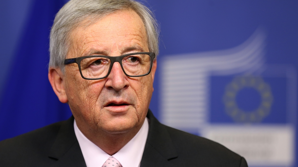 Brussels Belgium - January 30 2017: European Commission President Jean-Claude Juncker speaks to the media after meeting Bulgarian president at EU headquarters in Brussels.