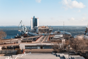 Odessa, Ukraine - Jan 13, 2018: Odessa passenger port, Ukraine.