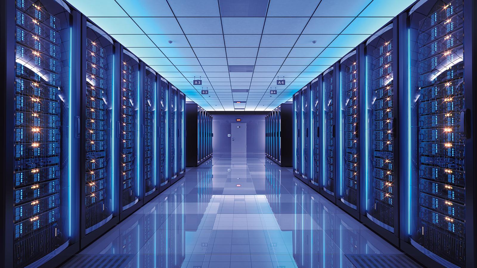 monitor datacenter rack server in room interior stock terminal photo with racks