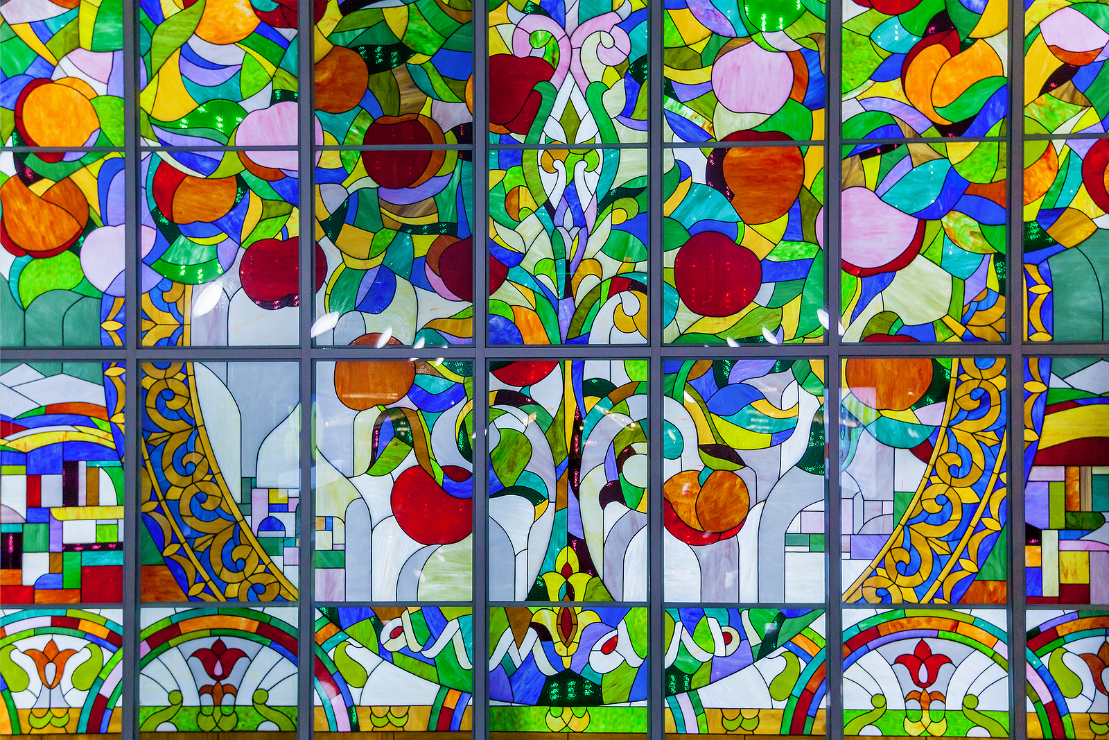 The apple tree mural at Almali Station on the Almaty metro