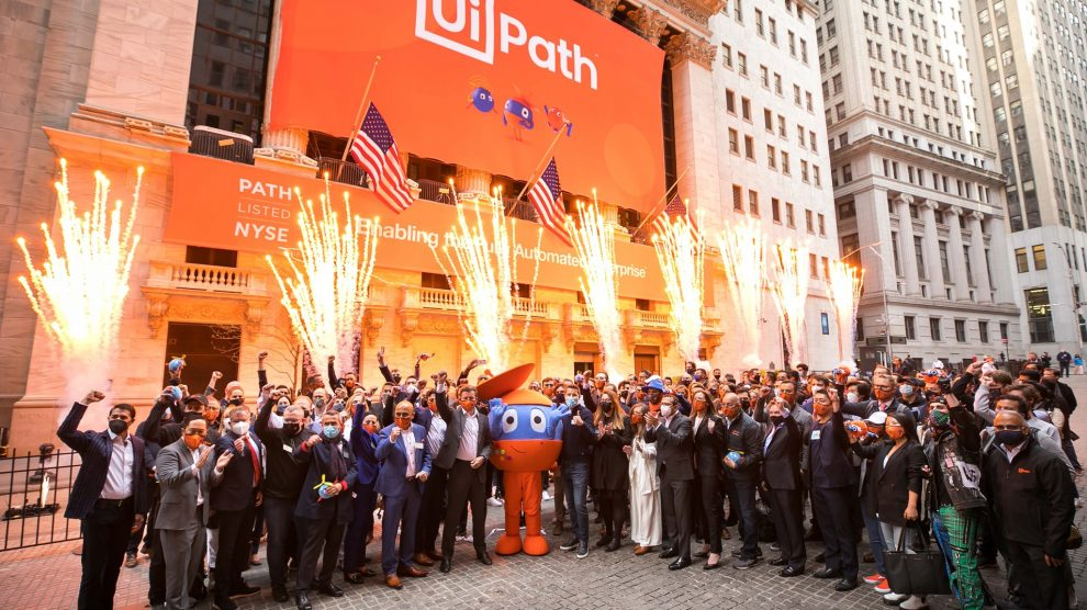 UiPath staff celebrate the firm's IPO.