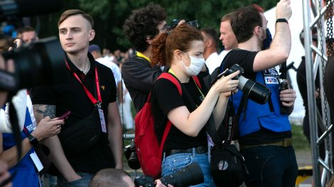 TUT.by journalists reporting on anti-government protests in Belarus