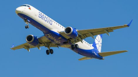 A Belavia aircraft taking off from St Petersburg, Russia