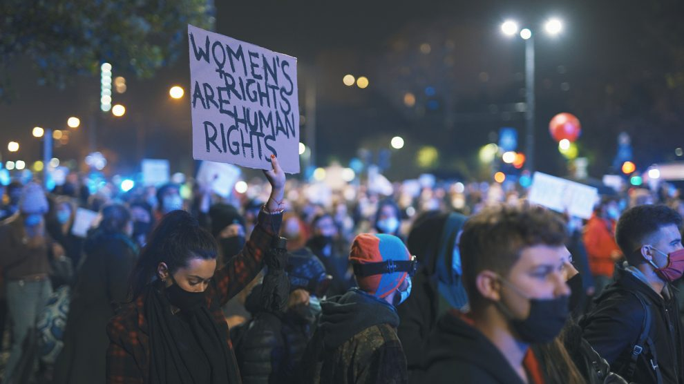 A Warsaw protest against restrictive abortion laws