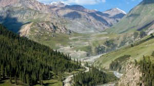 A winding mountain road leading to Kumtor gold mine in Kyrgyzstan.