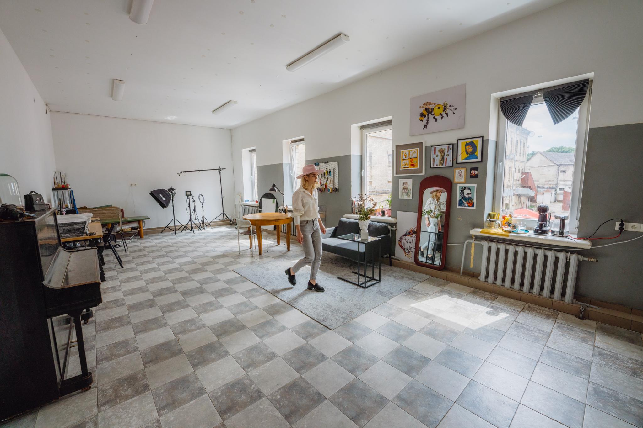 Jolita Vaitkutė in her studio at the former Lukiškės prison